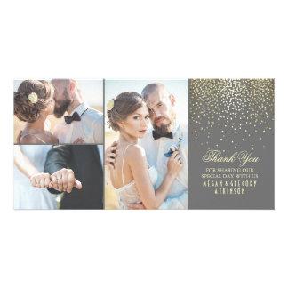 Gold Confetti Glamour Wedding Thank You Card