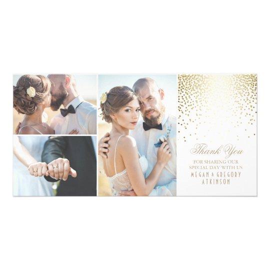 Gold Confetti Glamour White Wedding Thank You Customized