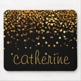 Gold Confetti Glitter Black Faux Foil Glittery Mouse Mat