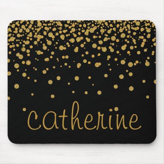 Gold Confetti Glitter Black Faux Foil Glittery Mouse