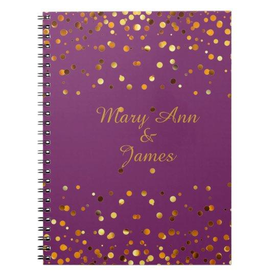 Gold Confetti Glitter Faux Foil Purple craft Spiral Notebook
