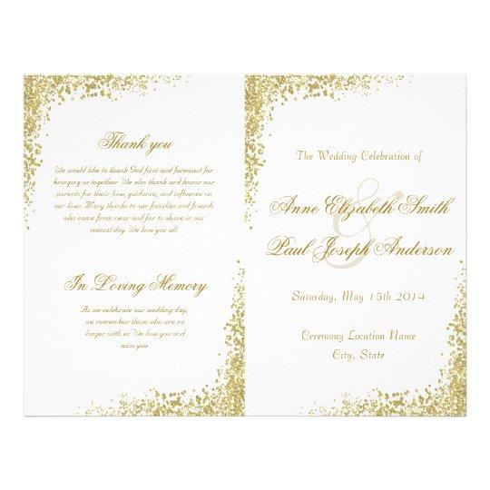 Gold confetti & Glitter folded program Flyer