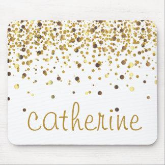 Gold Confetti Glitter golden Faux Foil Glittery Mouse Mat