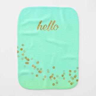 Gold Confetti Glitter Hello Baby Green Jo Sunshine Burp Cloth