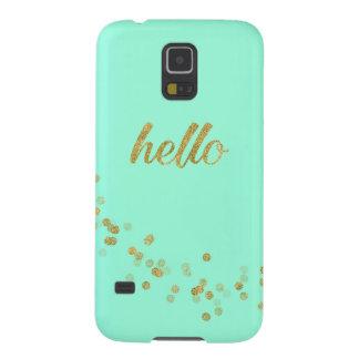 Gold Confetti Glitter Hello Baby Green Jo Sunshine Cases For Galaxy S5