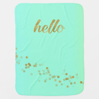 Gold Confetti Glitter Hello Green by Jo Sunshine Baby Blanket