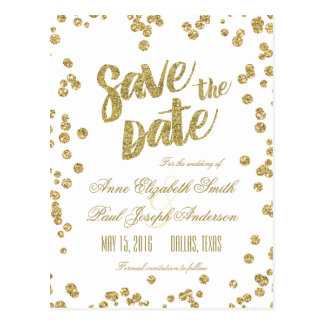 Gold confetti & glitter Save the Date Postcard