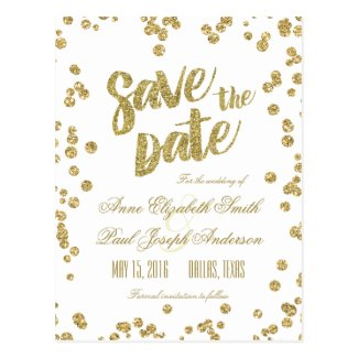 Gold confetti & glitter Save the Date
