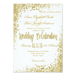 Gold Confetti & Glitter wedding invitation II
