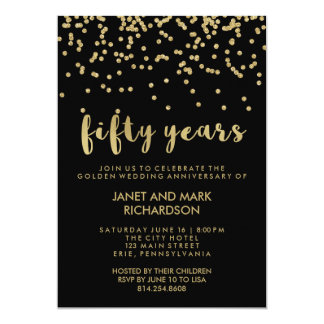 Gold Confetti Golden Wedding Anniversary Party Card