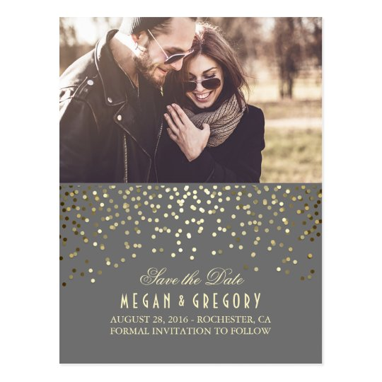Gold Confetti Grey Elegant Photo Save the Date