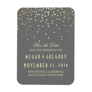 Gold Confetti Grey Vintage Save the Date Rectangular Photo Magnet