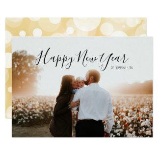 Gold Confetti Happy New Year Photo Card