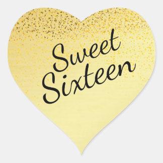 Gold Confetti Heart Sweet Sixteen Sticker