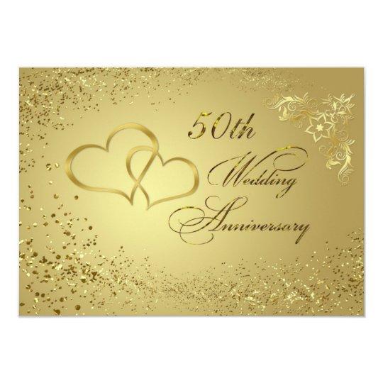 Gold confetti hearts 50 Wedding Anniversary Invite