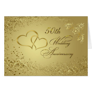 Gold confetti, hearts 50th Wedding Anniversary Greeting Card
