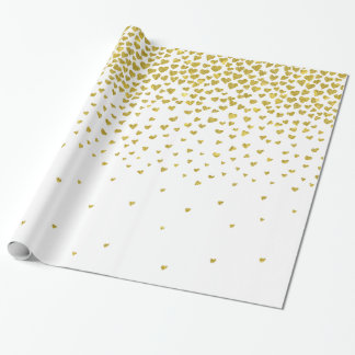 Gold Confetti Hearts Wrapping Paper