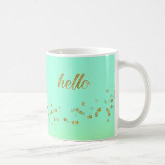 Gold Confetti Hello Green by Jo Sunshine Mug