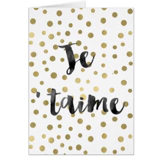 Gold Confetti Je t'aime Card