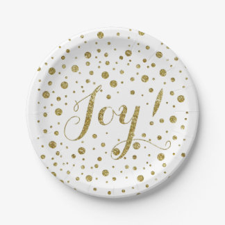 Gold Confetti Joy Sparkle Holiday Paper Plate