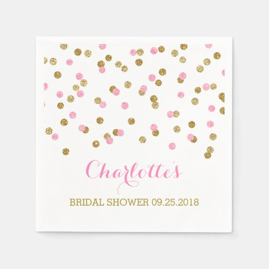 Gold Confetti Light Pink Bridal Shower Disposable Serviette