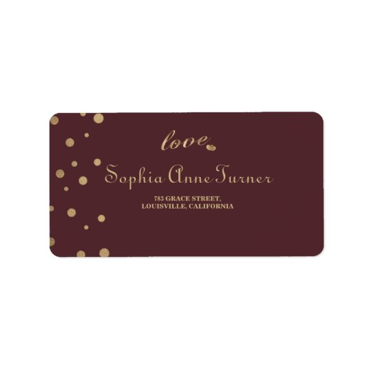 Gold Confetti Love Burgundy Wedding Label