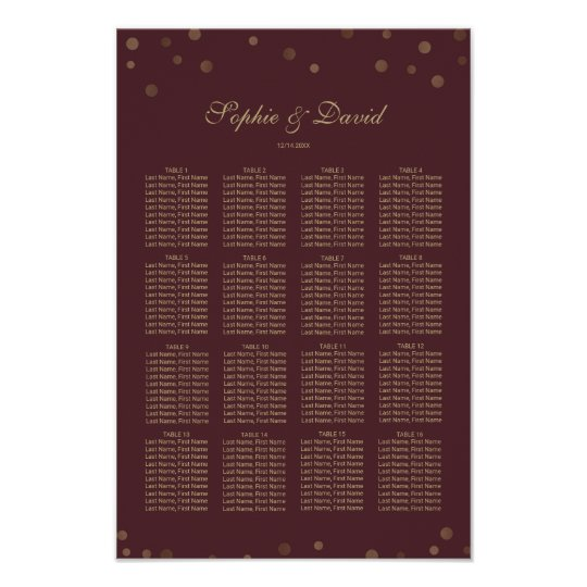 Gold Confetti Love Burgundy Wedding Poster