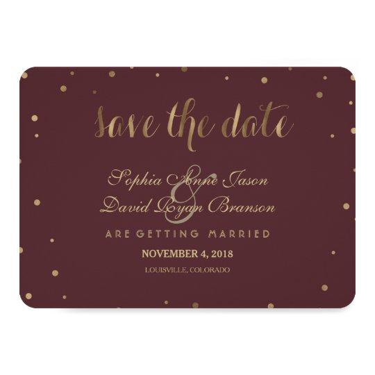 Gold Confetti Love Burgundy Wedding Save The Date