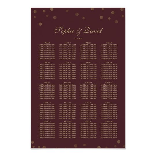 Gold Confetti Love Burgundy Wedding Seating Chart
