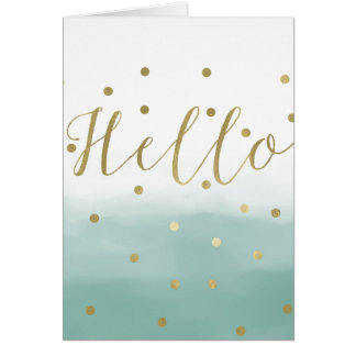 Gold Confetti Mint Watercolor Hello Card