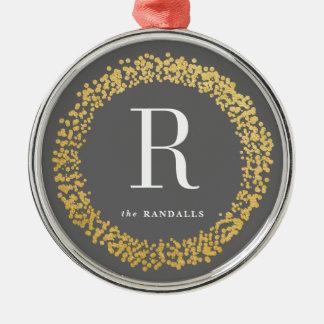 Gold confetti monogram ornament faux foil