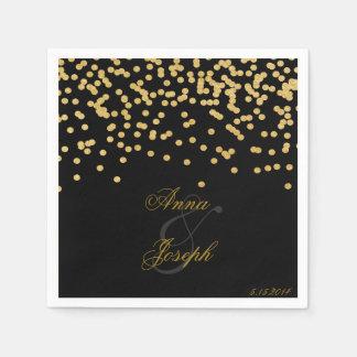 Gold confetti Napkins black II Paper Serviettes