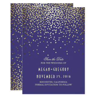 Gold Confetti Navy Elegant Save the Date Card