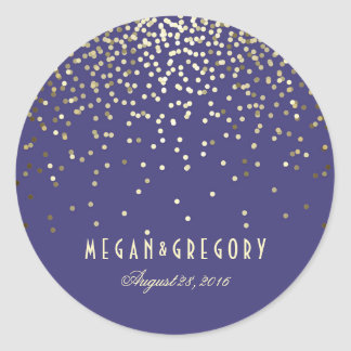 Gold Confetti Navy Wedding Classic Round Sticker