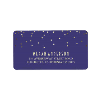 Gold Confetti Navy Wedding Label