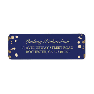 Gold Confetti Navy  Wedding Return Address Label