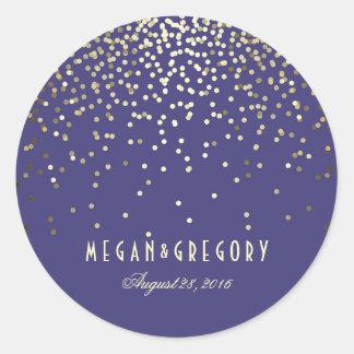 Gold Confetti Navy Wedding Round Sticker