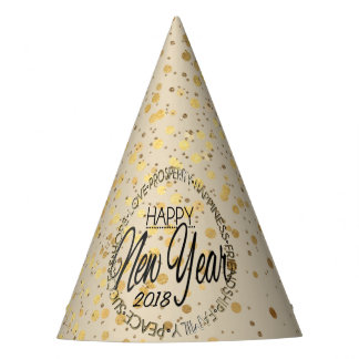 Gold Confetti New Years Party Hat