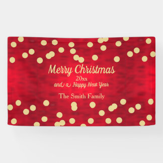 Gold Confetti on Red Christmas Pattern Banner