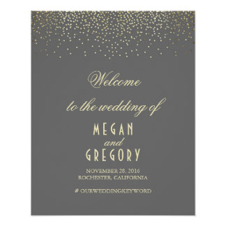 Gold Confetti Particles Wedding Welcome Sign Poster