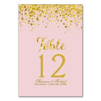 Gold Confetti | Pastel Pink Table Card