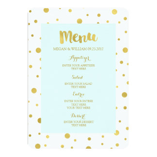 Gold Confetti Pastel Sky Blue Wedding Menu 13 Cm X 18 Cm Invitation Card