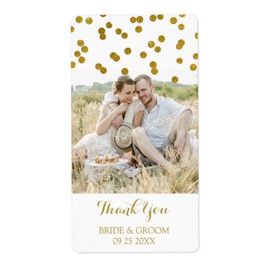 Gold Confetti Photo Wedding Labels