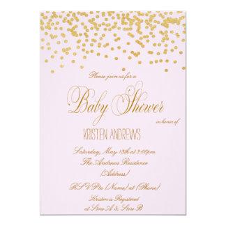 Gold confetti pink Baby Shower Invitation