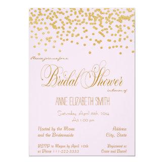 Gold Confetti pink Bridal Shower Invitation