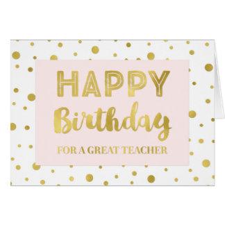 Gold Confetti Pink Teacher Birthday Card