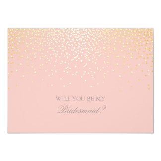 Gold Confetti Pink Wedding Bridesmaid Invitation