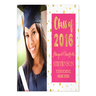 Gold Confetti Pink White Graduation Magnetic Card Magnetic Invitations