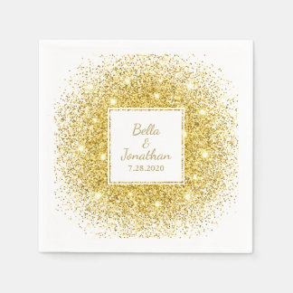 Gold Confetti Romantic Elegant Wedding Custom Paper Serviettes