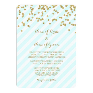 Gold Confetti Sky Blue Stripes Wedding Invitations